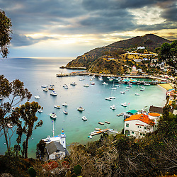 Catalina Island Avalon Bay sunrise picture with the Pacific Ocean and mountains. Catalina Island is a popular destination off the coast of Southern California in the United States.