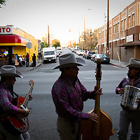 "Chris Chavez, 16, with his father and grandfather on Cesar Chavez Blvd. Their band goes as ""Tierra Mexicana"". Please contact Todd Bigelow directly with your licensing requests."