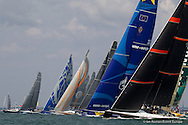 ENGLAND, Cowes, 8th August  2013. Cowes Week Big Boat Series. Esimit Europa 2. Start.