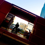 Downtown Kansas City's Prairie Logic Boxcar performance venue on the green roof at the Power and Light District.