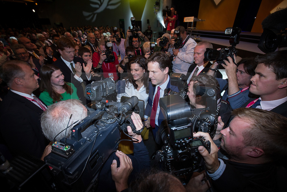 © Licensed to London News Pictures . 08/10/2014 . Glasgow , UK . Nick Clegg and his wife Miriam Gonzalez Durantez leave the conference hall after Nick Clegg's keynote speech at the close of the conference . The Liberal Democrat Party Conference 2014 at the Scottish Exhibition and Conference Centre in Glasgow . Photo credit : Joel Goodman/LNP