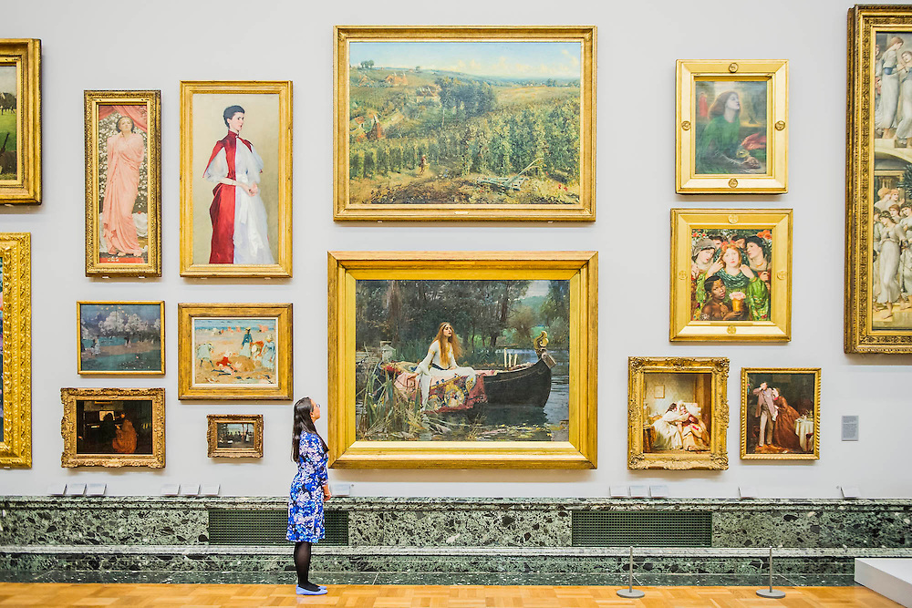 The return of the nation's Pre-Raphaelite works, including Millais' Ophelia, to Tate Britain. They are going back on display from Thursday 7 August 2014 after being seen by over 1.1 million people worldwide. They include: John Everett Millais' , Ophelia; Beata Beatrix by Dante Gabriel Rossetti; The Lady of Shalott by John William Waterhouse; The Beloved by Rossetti; and Mariana by John Everett Millais. These works are being displayed in the 'grand' surroundings of the 1840 galleries as part of the BP Walk through British Art. <br /> Millbank,  London, UK.