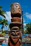Traditional wood carving in Noumea capital of New Caledonia, Melanesia, South Pacific