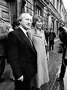 Galway West Labour Party TD Michael D Higgins arrives at Leinster House, accompanied by his wife Sabina.<br /> 9 March 1982