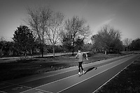 ROME, ITALY - 12 DECEMBER 2015: Italian race walker Alex Schwazer, who won the Olympic 50km walk gold medal in 2008 and who retired during the 2012 Olympics after being disqualified for doping offences, trains in the park of the Natural Reserve of Aniene in Rome, Italy, on December 11th 2015.