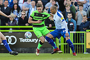 Forest Green Rovers Dayle Grubb(8) and Tranmere Rovers Jake Caprice(14) during the EFL Sky Bet League 2 second leg Play Off match between Forest Green Rovers and Tranmere Rovers at the New Lawn, Forest Green, United Kingdom on 13 May 2019.