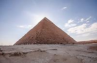 The impressive Chephren Pyramid in Giza, Egypt.