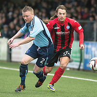 Forfar Athletic v St Johnstone....08.02.14   Scottish Cup 5th Round<br /> Stevie May and Mark Baxter<br /> Picture by Graeme Hart.<br /> Copyright Perthshire Picture Agency<br /> Tel: 01738 623350  Mobile: 07990 594431