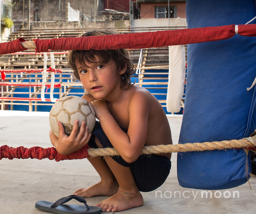 Havana, Cuba boxing gym with little boy playing.<br /> <br /> For all details about sizes, paper and pricing starting at $85, click &quot;Add to Cart&quot; below.