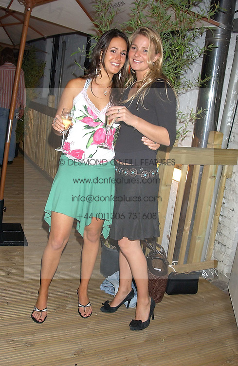 Left to right, ALEXANDRA PAKENHAM and the HON.KIRSTY HAMILTON-SMITH daughter of Lord Colwyn at the launch of Friday Nights at Mamilanji - Chelsea's newest and most exclusive members club, 107 Kings Road, London SW3 hosted by Charlie Gilkes and Duncan Stirling held on 29th July 2005.<br /><br />NON EXCLUSIVE - WORLD RIGHTS