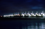 Delta Works at early morning. The Oosterschelde barrier, one of the 13 sea water protection barriers - Holland Kodak Ektar