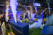 The Los Angeles Rams players take to the field during the International Series match between Los Angeles Rams and Cincinnati Bengals at Wembley Stadium, London, England on 27 October 2019.