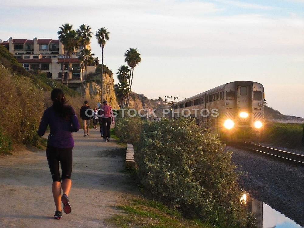 Joggers on the Beach Trail in San Clemente California