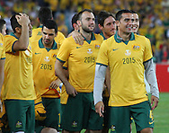 Australia wait to collect their medals after the AFC Asian Cup match at Stadium Australia, Sydney<br /> Picture by Steven Gibson/Focus Images Ltd +61 413 768835<br /> 31/01/2015