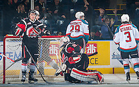 KELOWNA, CANADA - FEBRUARY 14: Leon Draisaitl #29 of Kelowna Rockets scores a goal against  Zach Sawchenko #31 the Moose Jaw Warriors on February 14, 2015 at Prospera Place in Kelowna, British Columbia, Canada.  (Photo by Marissa Baecker/Shoot the Breeze)  *** Local Caption *** Leon Draisaitl; Zach Sawchenko;