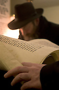 "An un-identified Orthodox Jew reads the Megillah ""The Scroll of Esther"" during the Jewish festival of Purim."
