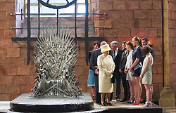 BELFAST-UK-24-JUNE-2014: Britain's Queen Elizabeth and The Duke of Edinburgh visit the 'Game of Thrones' set, Titanic Quarter, East Belfast.<br /> The Queen meets members of the cast and views the 'Iron Throne'.<br /> Photograph by Ian Jones
