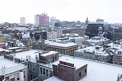 "© Licensed to London News Pictures. 28/02/2018. <br /> <br /> Rooftops over Glasgow city centre, as Scotland is hit with snow storm ""Beast from the East"" on 28th February 2018.<br /> <br /> Photo credit should read Max Bryan/LNP"