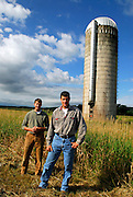 Jason and Jeff Boissoneault at their conserved farmland in Essex, Vermont