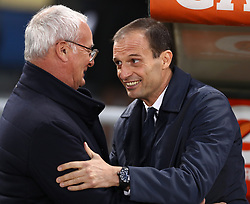 May 12, 2019 - Rome, Italy - Roma manager Claudio Ranieri with Juventus manager Massimiliano Allegri during the Italian Serie A football match AS Roma v Fc Juventus at the Olimpico Stadium in Rome, Italy on May 12, 2019. (Credit Image: © Matteo Ciambelli/NurPhoto via ZUMA Press)