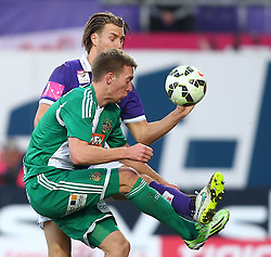 08.03.2015, Generali Arena, Wien, AUT, 1. FBL, FK Austria Wien vs SK Rapid Wien, 24. Runde, im Bild Alexander Gruenwald (FK Austria Wien) und Robert Beric (SK Rapid Wien) // during Austrian Football Bundesliga Match, 24th Round, between FK Austria Vienna and SK Rapid Wien at the Generali Arena, Vienna, Austria on 2015/03/08. EXPA Pictures © 2015, PhotoCredit: EXPA/ Thomas Haumer