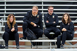 LOS ANGELES, USA - Wednesday, May 23, 2018: Wales' team operations manager Amanda Smith, head of international affairs Mark Evans, Rob Dowling and Sara Pennant during a training session at UCLA ahead of the International friendly match against Mexico. (Pic by David Rawcliffe/Propaganda)