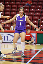 06 SEP 2008:  Libero Liz Rondone celebrates a point during a game between the Golden Grizzlies of Oakland and the Catamounts of Western Carolina. The Redbird Classic is held on Doug Collins Court in Redbird Arena located on the campus of Illinois State University in Normal IL.