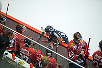 2019-11-16 | Örebro, Sweden:  A chat with the referee  during the game between Örebro HK and Malmö Redhawks at Behrn Arena ( Photo by: Hasse Persson | Swe Press Photo )<br /> <br /> Keywords: Behrn Arena, Örebro, Ice hockey, SHL, Örebro HK, Malmö Redhawks, hpöm191116