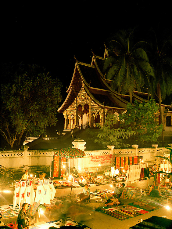 Night market in front of Haw Pha Bang Chapel.