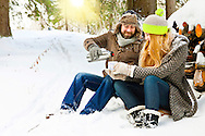 Couple, Hot Drink, Relaxation, Thermos Bottle,