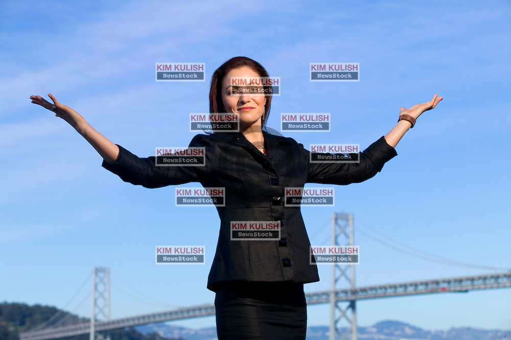 Portrait of  Valerie Orsoni-Vauthey along the bay (near the Bay Bridge)  in San Francisco, Calif,  Valerie Orsoni-Vauthey is the CEO and founder of MyPrivateCoach.com.  Orsoni-Vauthey  just released her new book, 30-day BootCamp: Your Ultimate Weight Loss Plan  Photo by Kim Kulish