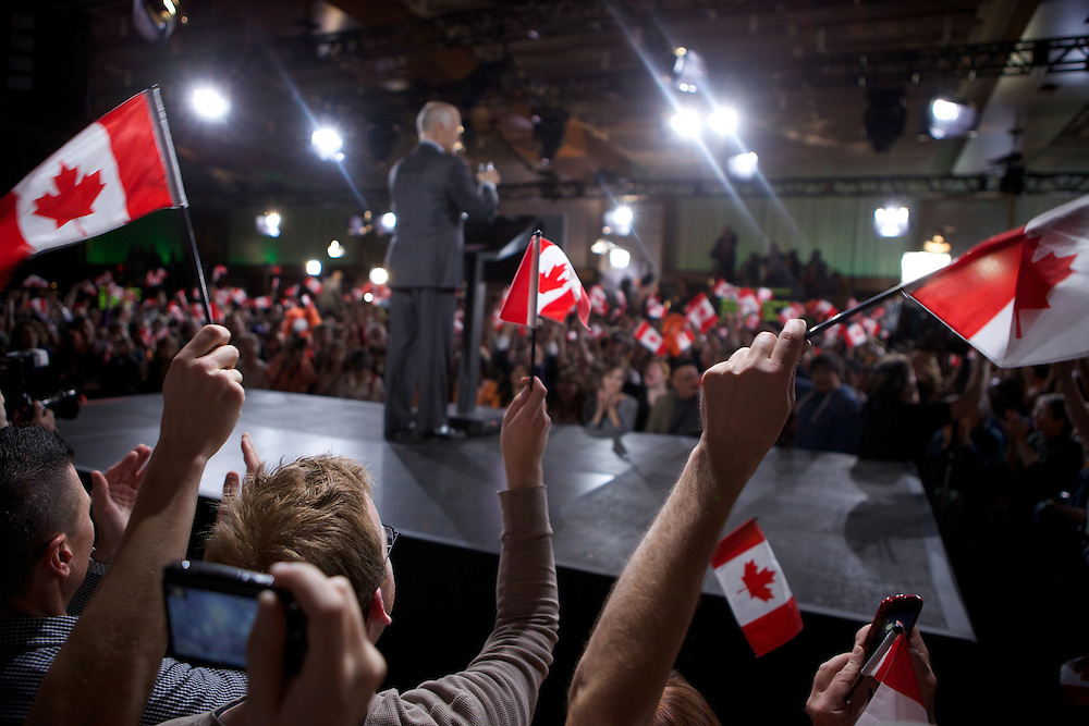 New Democratic Party supporters attend Election Night celebrations at the Toronto Convention Centre on May 2nd, 2011. The New Democratic Party of Canada won an historic 104 seats while the Conservative Party of Canada won its first majority government.