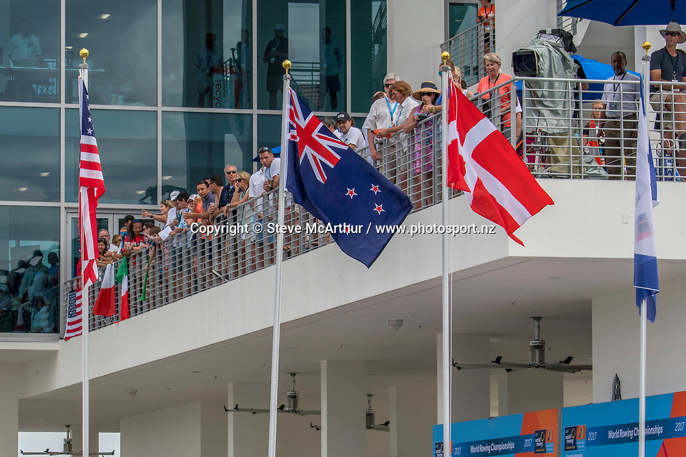 The NZ flag is raised for Kerri Gowler and Grace Prendergast New Zealand Womens Coxless Pair , World Champions 2017<br /> <br /> Finals races at the World Championships, Sarasota, Florida, USA Saturday 30 September 2017. Copyright photo &copy; Steve McArthur / www.photosport.nz