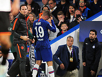 Football - 2019 / 2020 UEFA Champions League - Group H: Chelsea vs. Valencia CF<br /> <br /> Mason Mount of Chelsea is consoled by Manager Frank Lampard after being injured and having to leave the field, at Stamford Bridge.<br /> <br /> COLORSPORT/ANDREW COWIE