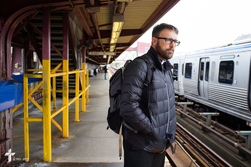 The Rev. Adam DeGroot, new national missionary and pastor at Shepherd of the City Lutheran Church, waits for the train on Monday, Nov. 2, 2015, in Philadelphia.  LCMS Communications/Erik M. Lunsford