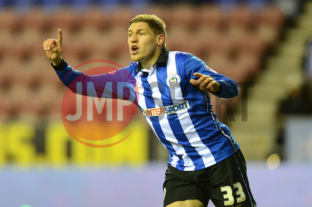 Wigan Athletic's Martyn Waghorn protests after he had a goal disallowed - Photo mandatory by-line: Richard Martin-Roberts/JMP - Mobile: 07966 386802 - 24/02/2015 - SPORT - Football - Wigan - DW Stadium - Wigan Athletic v Cardiff City - Sky Bet Championship