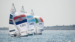 10.08.2012, Bucht von Weymouth, GBR, Olympia 2012, Segeln, im Bild Fantela Sime, Marenic Igor, (CRO, 470 Men).Zandona Gabrio, Zucchetti Pietro, (ITA, 470 Men).Calabrese Lucas, de la Fuente Juan, (ARG, 470 Men) // during Sailing, at the 2012 Summer Olympics at Bay of Weymouth, United Kingdom on 2012/08/10. EXPA Pictures © 2012, PhotoCredit: EXPA/ Juerg Kaufmann ***** ATTENTION for AUT, CRO, GER, FIN, NOR, NED, .POL, SLO and SWE ONLY!