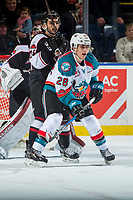 KELOWNA, CANADA - MARCH 7: Leif Mattson #28 of the Kelowna Rockets looks for the pass against the Vancouver Giants  on March 7, 2018 at Prospera Place in Kelowna, British Columbia, Canada.  (Photo by Marissa Baecker/Shoot the Breeze)  *** Local Caption ***