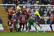 Action in the Bradford goal area during the EFL Sky Bet League 2 match between Bradford City and Exeter City at the Utilita Energy Stadium, Bradford, England on 2 November 2019.