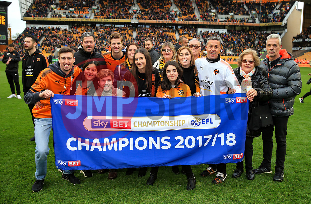 Free to use courtesy of Sky Bet - Wolverhampton Wanderers coaches and families celebrate after lifting the Sky Bet Championship 2017/18 league trophy - Mandatory by-line: Matt McNulty/JMP - 28/04/2018 - FOOTBALL - Molineux - Wolverhampton, England - Wolverhampton Wanderers v Sheffield Wednesday - Sky Bet Championship