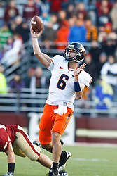 November 20, 2010; Chestnut Hill, MA, USA;  Virginia Cavaliers quarterback Marc Verica (6) throws a hail mary pass at the end of the the fourth quarter against the Boston College Eagles at Alumni Stadium.  Boston College defeated Virginia 17-13.