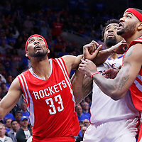 14 May 2015: Los Angeles Clippers center DeAndre Jordan (6) vies for the rebound with Houston Rockets guard Corey Brewer (33) and Houston Rockets forward Josh Smith (5) during the Houston Rockets 119-107 victory over the Los Angeles Clippers, in game 6 of the Western Conference semifinals, at the Staples Center, Los Angeles, California, USA.