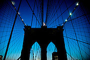 A pillar of the Brooklyn bridge at sunset, Brooklyn, new York.