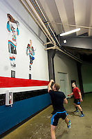KELOWNA, CANADA - OCTOBER 23: Ice officials warm up with a game of handball at the Kelowna Rockets against the Prince George Cougars on October 23, 2015 at Prospera Place in Kelowna, British Columbia, Canada.  (Photo by Marissa Baecker/Shoot the Breeze)  *** Local Caption *** officials;