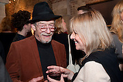 JOHN HURT; LISA SHARPE, The launch party of HiBrow and A Mighty Big If. ÊThe Crypt. St. Martins in the Fields. London. 24 January 2012<br /> JOHN HURT; LISA SHARPE, The launch party of HiBrow and A Mighty Big If.  The Crypt. St. Martins in the Fields. London. 24 January 2012