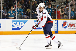 February 17, 2011; San Jose, CA, USA;  Washington Capitals right wing D.J. King (17) warms up before the game against the San Jose Sharks at HP Pavilion.  San Jose defeated Washington 3-2. Mandatory Credit: Jason O. Watson / US PRESSWIRE