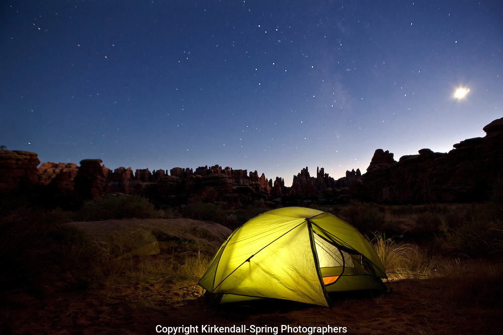 UT00181-00...UTAH - Night time image of campsite number DK3 in Devils Kitchen in the Needles District of Canyonlands National Park.