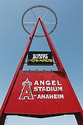 ANAHEIM, CA - MAY 15:  The Big A sign looms large in the parking lot of the Los Angeles Angels of Anaheim before the game against the Oakland Athletics on Tuesday, May 15, 2012 at Angel Stadium in Anaheim, California. The Angels won the game 4-0. (Photo by Paul Spinelli/MLB Photos via Getty Images)