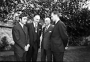 22/07/1967<br /> 07/22/1967<br /> 22 July 1967<br /> Reception at the Indian Embassy for Cricket team. The Indian team was on a tour of the British Isles and had played and beaten the Irish team the day before. On left is Mansur Ali Khan Pataudi, captain of the Indian cricket team. Thomas Strafford, Lord Mayor of Dublin 2nd from left.