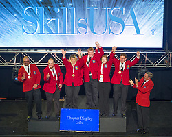 The 2017 SkillsUSA National Leadership and Skills Conference Competition Medalists were announced Friday, June 23, 2017 at Freedom Hall in Louisville. <br /> <br /> Chapter Display<br /> <br /> Team R (consisting of Hannah F Ramsey, Jared Chappell, Jonathon Tyson)<br />   High School Sullivan Central High School<br />   Gold Blountville, TN<br /> Chapter DisplayTeam C (consisting of Jiavanna Wong-Fortunato, Makaela Bigley, Brennan Peterman)<br />   High School Carson High School<br />   Silver Carson City, NV<br /> Chapter DisplayTeam AD (consisting of Joseph A DeSalvo, Taylor Jeffrey, Torrey Smith)<br />   High School Greater Lowell Tech High<br />   Bronze Tyngsboro, MA<br /> Chapter DisplayTeam A (consisting of Peggy sue Pilant, Zachary McLeskey, Joshua Hall)<br />   College Texas State Tech College-Waco<br />   Gold Waco, TX<br /> Chapter DisplayTeam D (consisting of Tristian Graves, Corissa Nielsen, Makinzie Timmons)<br />   College Gordon Cooper Technology Center<br />   Silver Shawnee, OK<br /> Chapter DisplayTeam B (consisting of Kate Hendricks, Melisa Fajardo, Brandy Levan)<br />   College Georgia Northwestern Tech College<br />   Bronze Rock Spring, GA